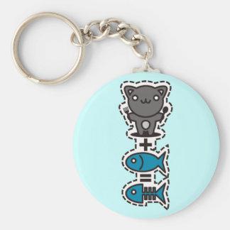 Cat + Fish = Bone Keychain