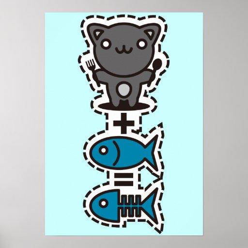 Cat + Fish = Bone Poster