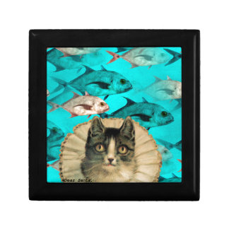Cat Fish You Digital Collage Jewelry Boxes
