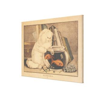 Cat Fishing by E.B. & E.C. Kellogg Canvas Print