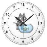 Cat Fishing Clock