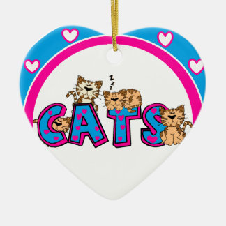 Cat Fishing in Fish Bowl Double-Sided Heart Ceramic Christmas Ornament