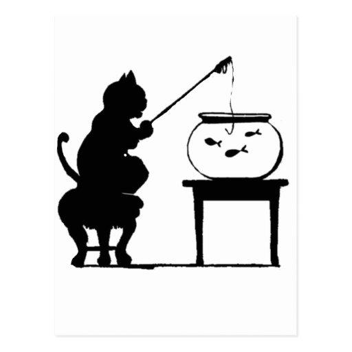 Cat Fishing in Fish Bowl Postcard