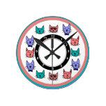Cat Fishing in Fish Bowl Round Clock