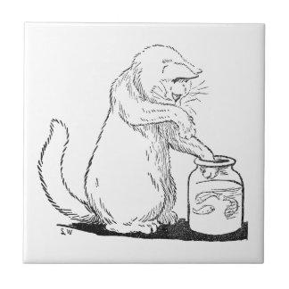 Cat Fishing in Glass Jar Ceramic Tile