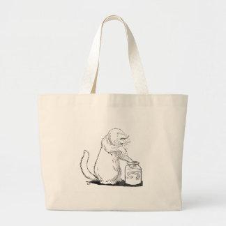 Cat Fishing in Glass Jar Large Tote Bag