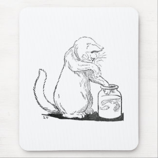Cat Fishing in Glass Jar Mouse Pad
