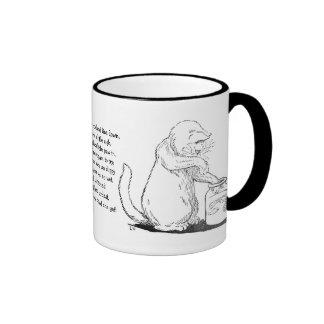 Cat Fishing in Glass Jar Ringer Mug