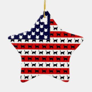 Cat Flag Double-Sided Star Ceramic Christmas Ornament