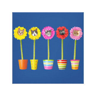 """Cat Flower"" Garden LOL Funny Wrapped Canvas Art"