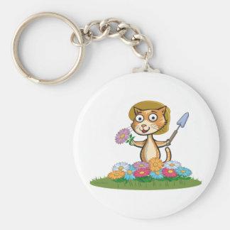 Cat Flower Gardener Basic Round Button Keychain