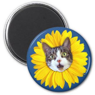 """Cat Flower"" Yellow LOL Funny Fridge Magnet"