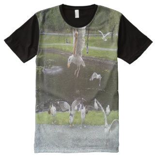 Cat flying a Seagull All-Over Print Shirt