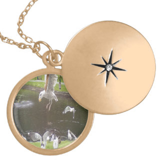 Cat flying a Seagull Round Locket Necklace