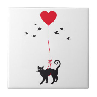 cat flying with red heart balloon and birds tile