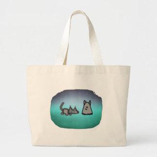 Cat Follows His Ghost Friend Tote Bag