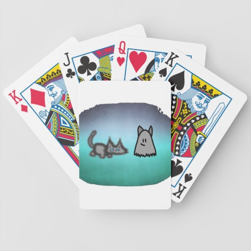 Cat Follows His Ghost Friend Bicycle Poker Cards