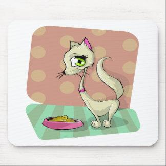cat food eating breakfast gourmet mouse pad