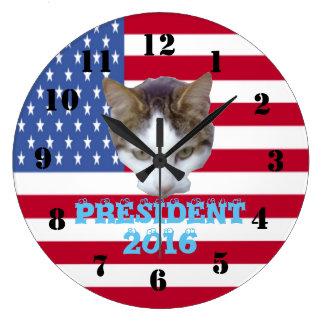 Cat for For President 2016 Large Clock