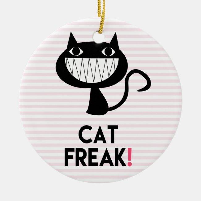 Cat Freak! Fun Ornament - Pink & white stripes