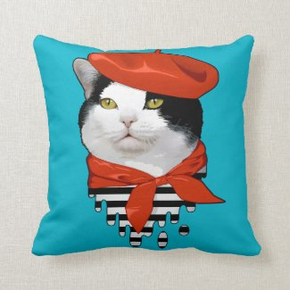 cat Frenchman Throw Pillows