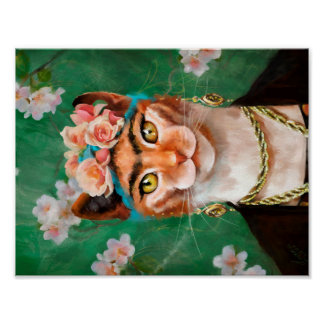 cat Frida with flowers Poster