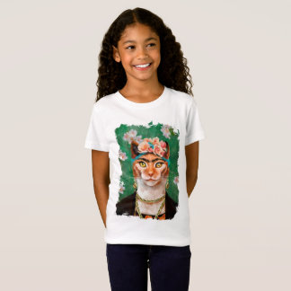 cat Frida with flowers T-Shirt