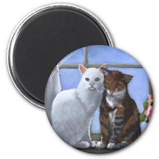 CAT FRIENDS: PASTEL ART 2 INCH ROUND MAGNET