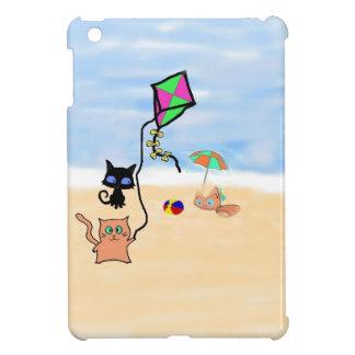 Cat Friends Playing On A Sandy Beach iPad Mini Cases