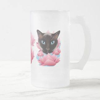 Cat From The Land of Lotus Frosted Glass Beer Mug