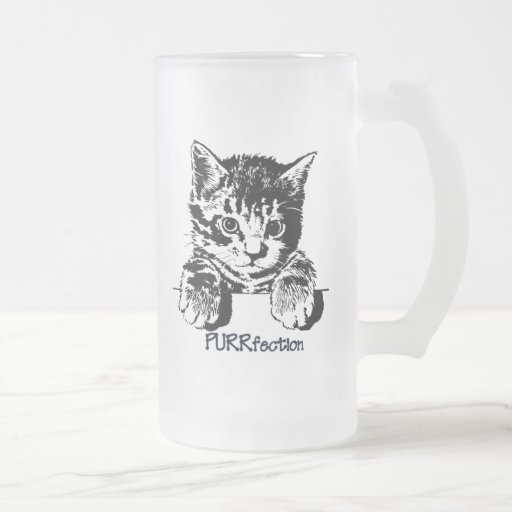 Cat Frosted Glass Mug Purrfection