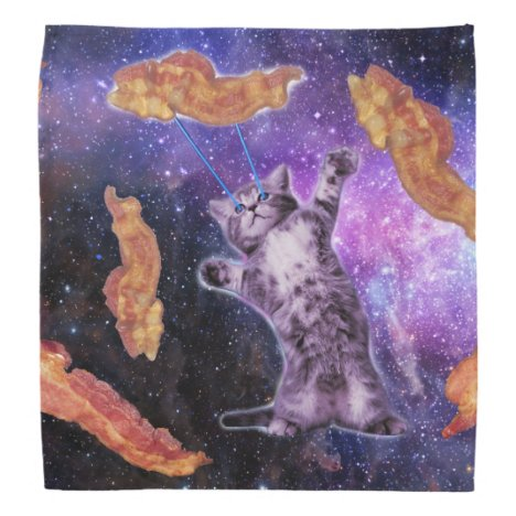 Cat Frying Bacon With Eye Laser Bandana