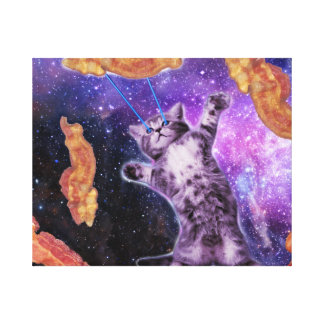 Cat Frying Bacon With Eye Laser Canvas Print