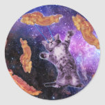 Cat Frying Bacon With Eye Laser Classic Round Sticker