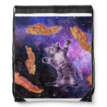 Cat Frying Bacon With Eye Laser Drawstring Bag