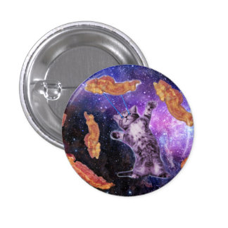 Cat Frying Bacon With Eye Laser Pinback Button