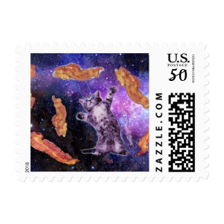 Cat Frying Bacon With Eye Laser Postage