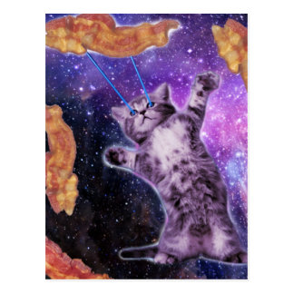 Cat Frying Bacon With Eye Laser Postcard