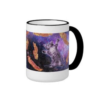 Cat Frying Bacon With Eye Laser Ringer Coffee Mug