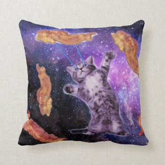 Cat Frying Bacon With Eye Laser Throw Pillow