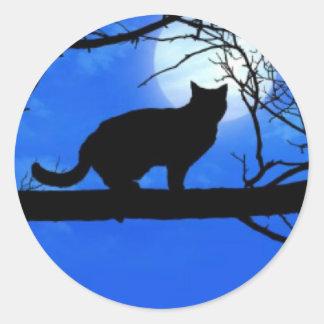 Cat Full Moon Shadow Classic Round Sticker