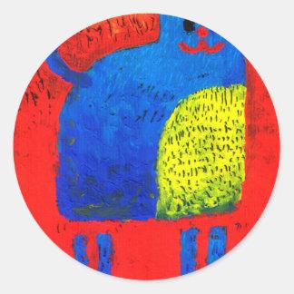 Cat fun drawing painting art handmade classic round sticker