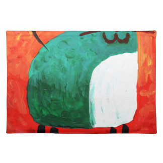 Cat fun drawing painting art handmade cloth placemat