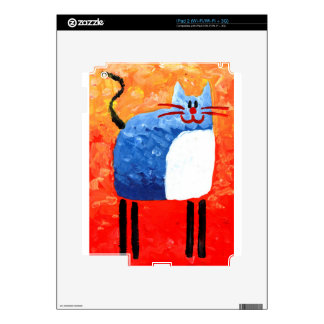 Cat fun drawing painting art handmade decals for iPad 2
