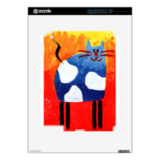 Cat fun drawing painting art handmade decals for the iPad 2