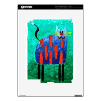 Cat fun drawing painting art handmade iPad 2 decal