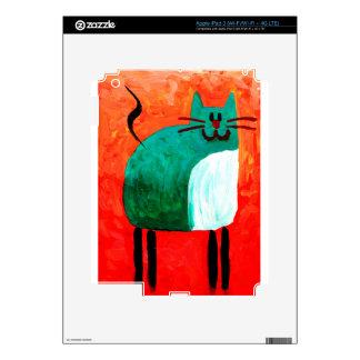 Cat fun drawing painting art handmade iPad 3 decals