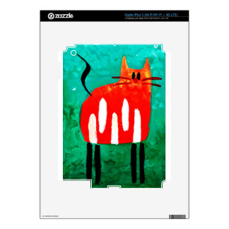 Cat fun drawing painting art handmade iPad 3 skin