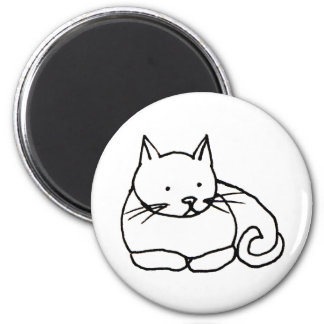Cat - fun kitty ink line drawing art symbol logo 2 inch round magnet
