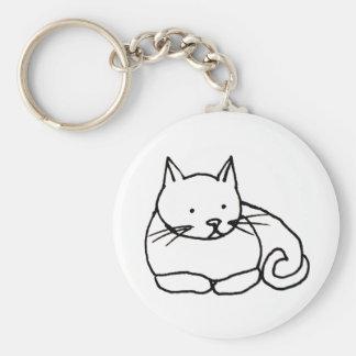 Cat - fun kitty ink line drawing art symbol logo basic round button keychain